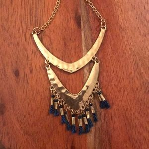 Evereve Pendant Gold with Blue Tassle Necklace
